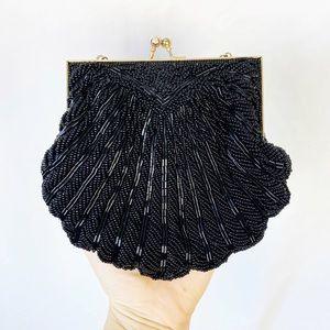 Vintage Walborg black beaded evening bag